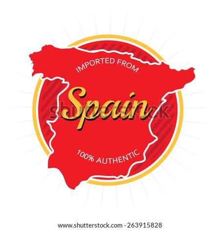 Imported from Spain label or logo design over white. - stock vector