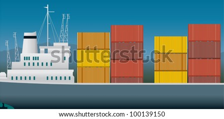 Imports and exports, container ship - stock vector