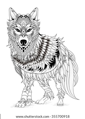 imposing wolf coloring page in exquisite line - stock vector