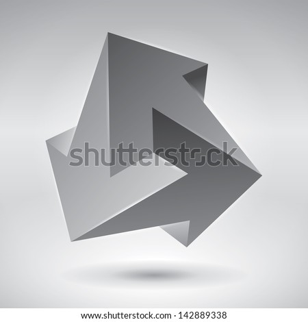 Impossible figure, 3 arrows, impossible arrows. Abstract vector objects - stock vector