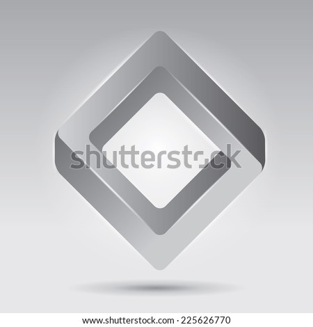 Impossible figure, smooth vector rhombus, abstract vector object, unreal form - stock vector