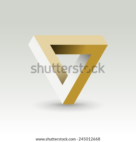 Impossible looped triangle  vector logo template. Luxury symbol