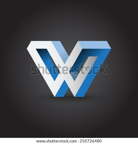 Impossible looped W letter, vector logo template. Corporate symbol - stock vector