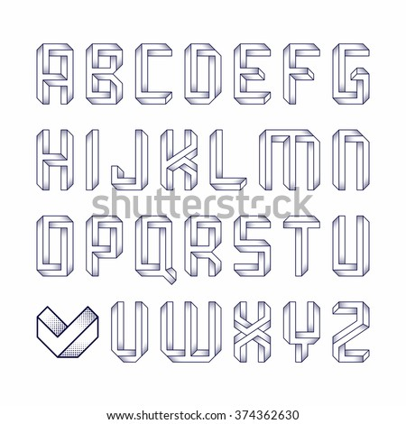 Impossible shape font. Vector. - stock vector