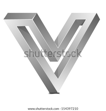 Impossible V sign - stock vector