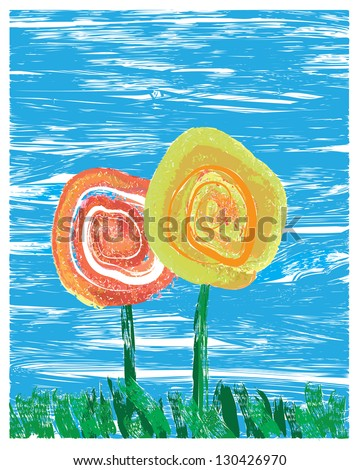 Impressionist style painting of two flowers in grass - stock vector