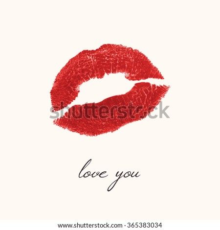 imprint of lips on a white background - a kiss, red lipstick. Vector illustration - stock vector