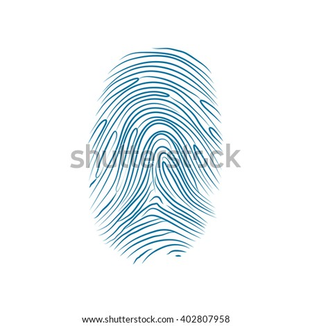 Imprint of the thumb of the human hand isolated on white - stock vector