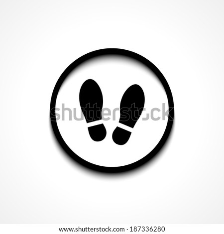 Imprint soles shoes sign icon. Shoe print symbol. Round button. Vector - stock vector