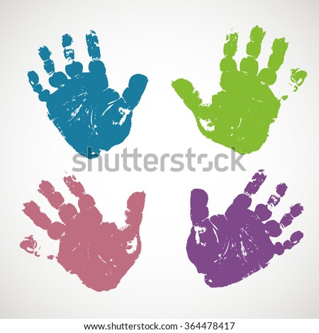 Imprints of baby's hands (hand prints). Vector illustration.