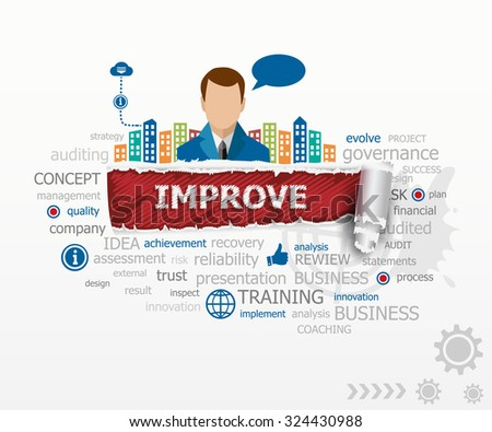Improve concept word cloud and business man. Improve design illustration concepts for business, consulting, finance, management, career. - stock vector