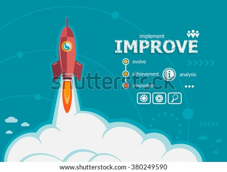 Improve design and concept background with rocket. Project Action plan concepts for web banner and printed materials. - stock vector