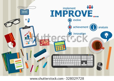 Improve design and flat design illustration concepts for business analysis, planning, consulting, team work, project management. Improve concepts for web banner and printed materials. - stock vector