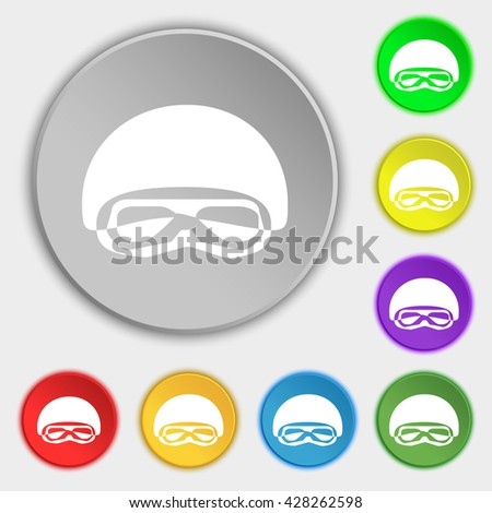 In a ski masks, snowboard ski goggles, diving mask icon sign. Symbol on eight flat buttons. Vector illustration - stock vector