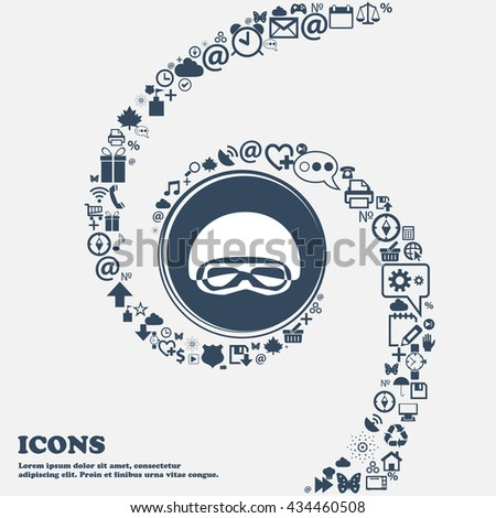 In a ski masks, snowboard ski goggles, diving mask sign icon in the center. Around the many beautiful symbols twisted in a spiral. You can use each separately for your design. Vector illustration - stock vector