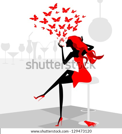 in abstract cafe is stylish girl in red dress with compact mirror - stock vector
