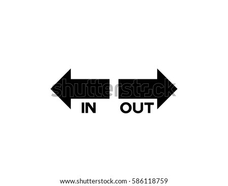 Out Arrow Direction Sign On White Stock Vector 586118759 Shutterstock