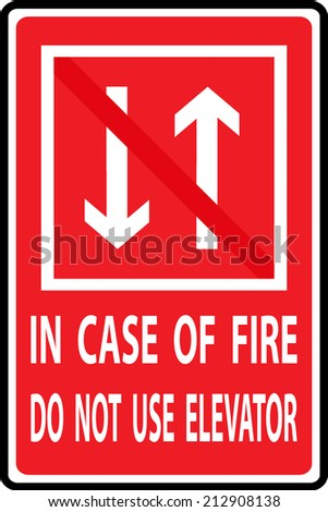 In case of fire do not use elevator, vectors illustration - stock vector