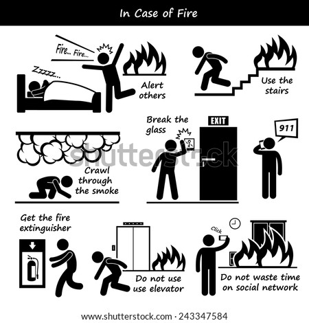 In Case of Fire Emergency Plan Stick Figure Pictogram Icons - stock vector