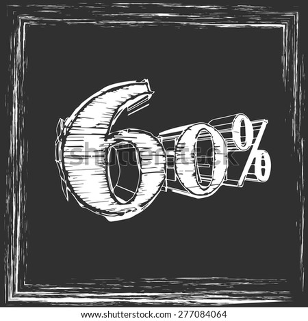 in chalk on the board 60% - stock vector