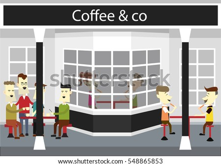 in front of the coffee shop, in the illustration