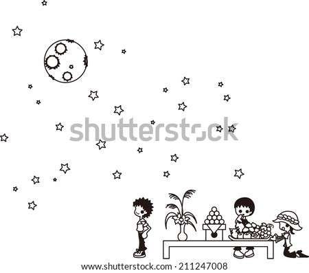 In Japanese September, people watch moon with offerings. - stock vector