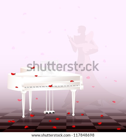 in light room are white grand piano and flying red petals