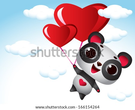 In Love flying panda - Illustration - stock vector