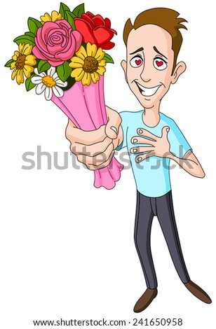 In love man giving bouquet of flowers - stock vector
