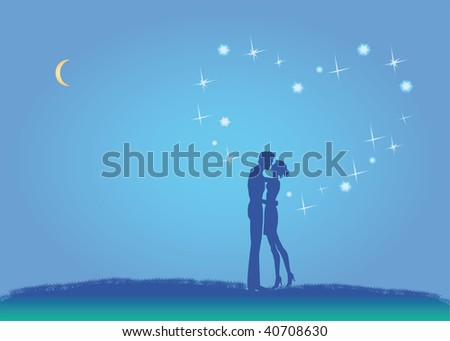 In love pair under constellation in form heart - stock vector