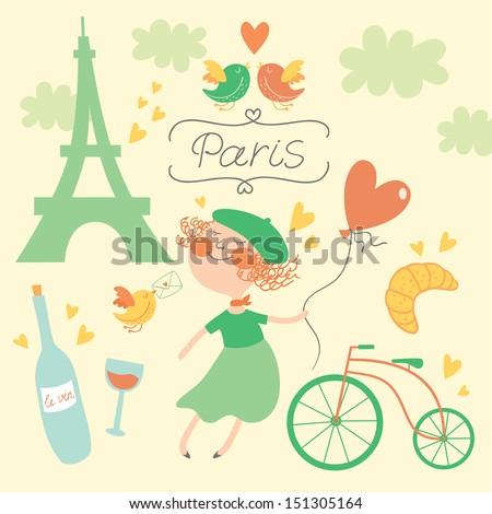 In love with Paris vector set in green - stock vector