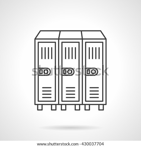 In-room three sections safe. Locker or cabinet for school closet, gym, stadium.   Flat line style vector icon - stock vector