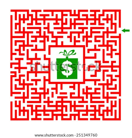 In the bottom of the maze there is wealth, vector illustration