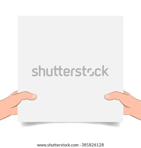 In the hands of a blank page with shadow.  Banner advertising and posters. hands holding paper isolated on white. Hand holding blank paper, vector - stock vector