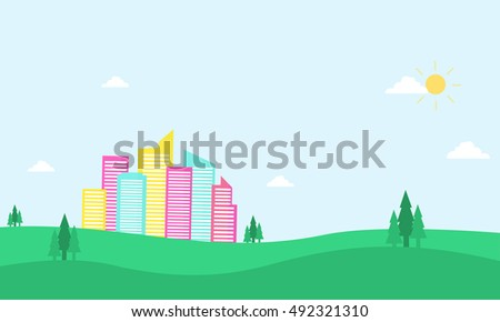 In the hill city landscape of silhouette illustration