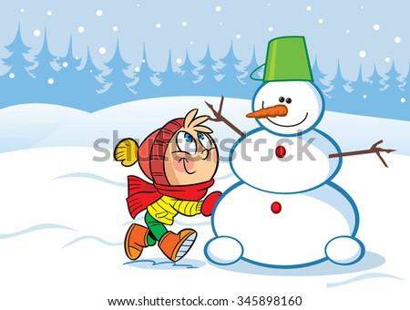 In the illustration a little girl sculpts snow funny snowman. Vector illustration done in cartoon style, on separate layers. - stock vector