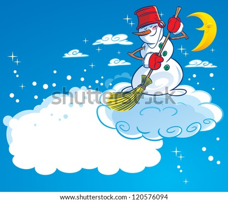 In the illustration the snowman in a New Year's night. He stands on a cloud and sweep the snow. Illustration done in cartoon style.