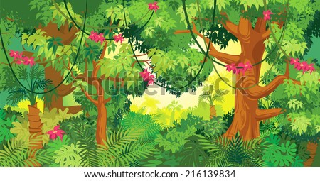 In the jungle. Vector illustration - stock vector