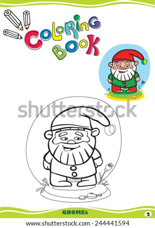 in the middle on a white background depicts a black outline happy cartoon dwarf for graffiti color - stock vector