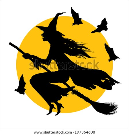 In this drawing the witch flying on a broom against the full moon is represented. - stock vector