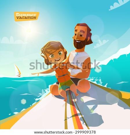 In this summer. Surfing, enjoy it. Teacher in motion - stock vector