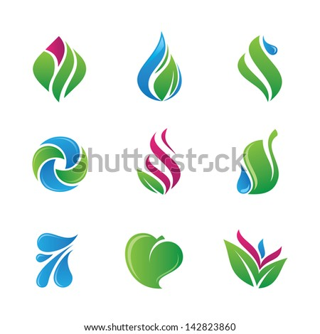 In touch with nature green bud fruit logo  icon - stock vector