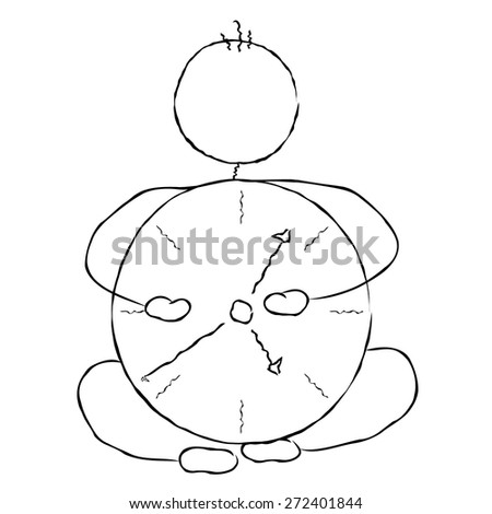 In tune with time. Man with clock. - stock vector