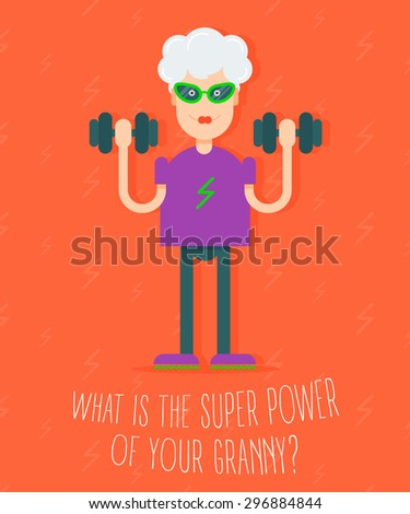 In vogue modern grandmother with the dumbbells in her hands doing fitness exercises. Fully editable vector illustration.Perfect use for informational cards, posters, flayers, fitness trend and theme.  - stock vector