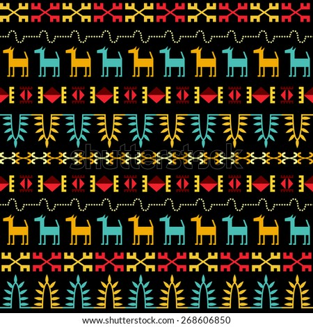 Inca style seamless pattern. Repeatable ethnic ornament with various aboriginal forms and Latin America culture elements. Small abstract lamas at tribal background. Vector file is EPS8. - stock vector