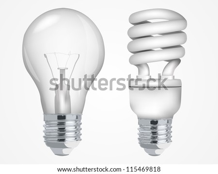 Incandescent and fluorescent energy saving light bulbs - stock vector