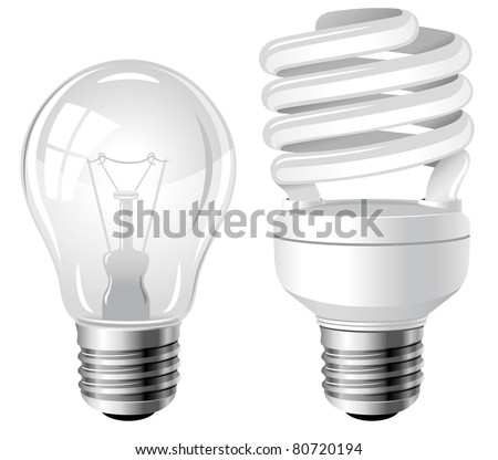 Incandescent and fluorescent energy saving light bulbs  sc 1 st  Shutterstock & Incandescent Fluorescent Energy Saving Light Bulbs Stock Vector ... azcodes.com