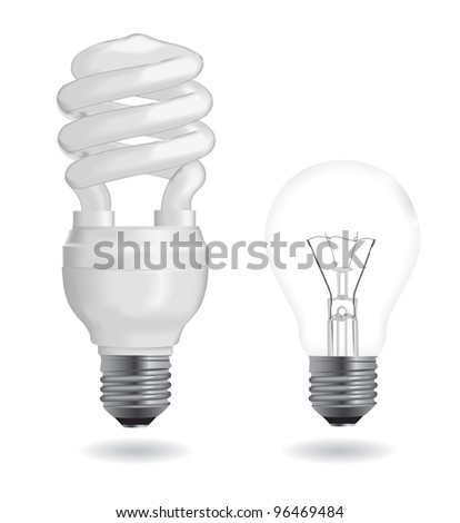 Incandescent and fluorescent energy saving light bulbs. Vector Illustration. - stock vector