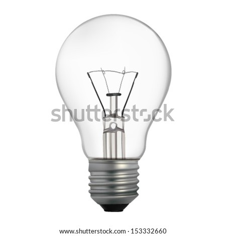 Incandescent electric lamp in vector format. Realistic light bulb isolated - stock vector