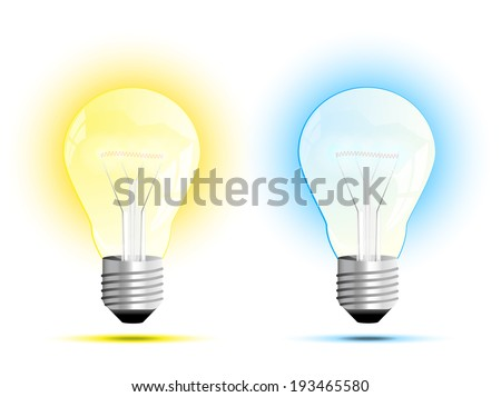 Incandescent light bulb. Soft White and Daylight or warm white and cool white. vector illustration. - stock vector